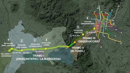 El proyecto busca conectar las dos ciudades hasta enlazar al Sistema de Transporte Colectivo Metro (Gráfico: SCT)