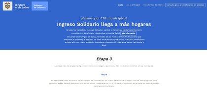 Así luce la página oficial del Ingreso Solidario en Prosperidad Social. La url es https://ingresosolidario.prosperidadsocial.gov.co/
