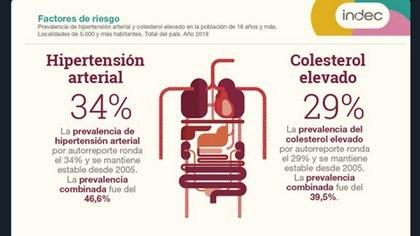 Hipertensión arterial y colesterol elevado en 2018 en Argentina (INDEC)