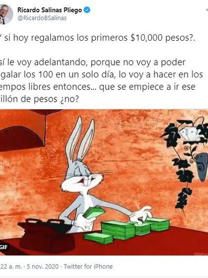 El empresario Ricardo Salinas Pliego cuestionó a sus seguidores si comenzaba con la dinámica para regalar el 1 millón de pesos (Foto: Twitter@RicardoBSalinas)