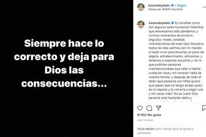 El descargo de Luisana Lopilato (Foto: Instagram)