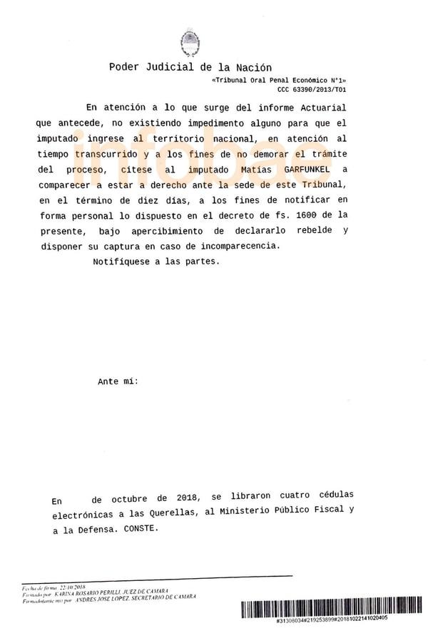 El oficio firmado por la jueza Perilli.