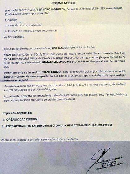 El informe médico de Mogollón Velásquez