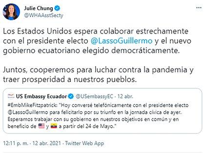 El mensaje de una de las diplomáticas de la embajada de EEUU en Ecuador