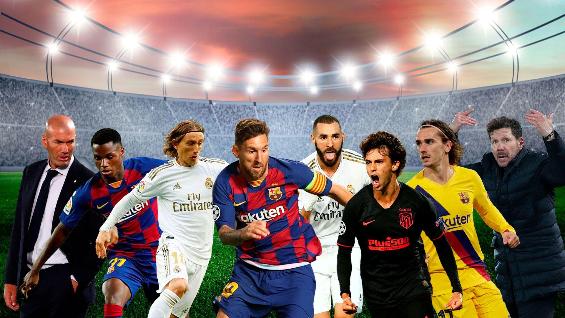 Messi, Griezmann, Ansu Fati, Modric, Benzemá, Joao Felix, el Cholo Simeone y Zidane