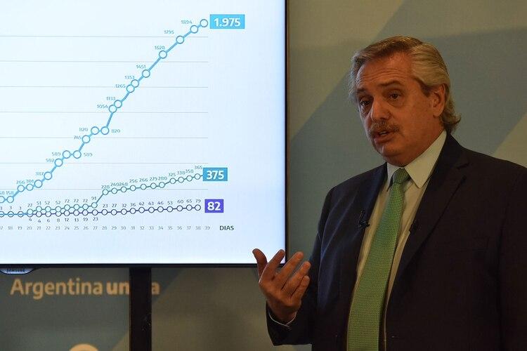 Alberto Fernández mostrando los cuadros comparativos durante la conferencia de prensa del viernes pasado. (Franco Fafasuli)