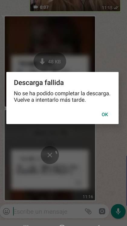 El mensaje de falla que se puede leer en WhatsApp al intentar descargar audios o contenido audiovisual.