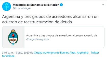 El Ministerio de Economía comunicó el acuerdo en las redes sociales