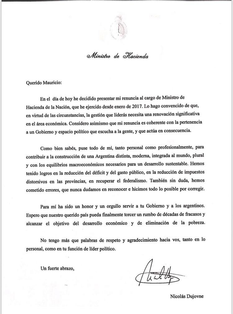 La carta de renuncia de Dujovne