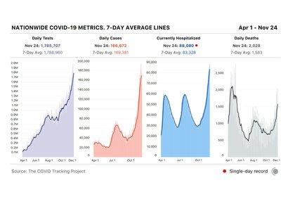 Los gráficos de testeos, casos, hospitalizaciones y muertes por coronavirus hasta el 24 de noviembre (Covid Tracking Project)