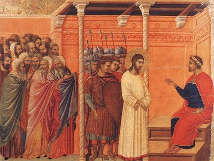 Cristo ante Caifás (sumo sacerdote de la secta de los saduceos), pintura de Duccio Di Buoninsegna, realizada en 1306.