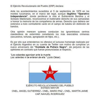 El comunicado de los ex combatientes del ERP
