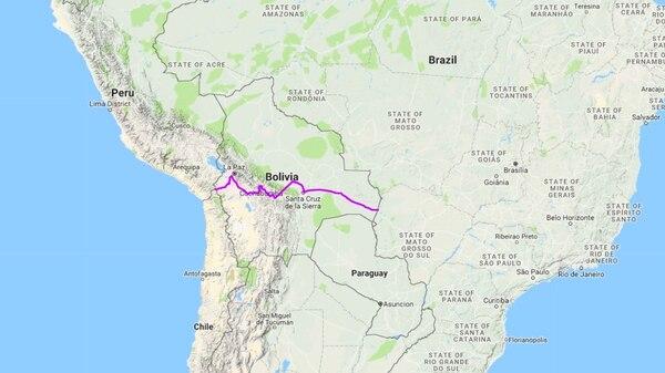 Mappa del corridoio ferroviario. Credits to: GoogleMaps.
