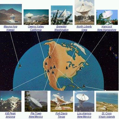 Los 10 radiotelescopios que conforman el sistema VLBA y sus ubicaciones en el territorio estadounidense (Foto: UNAM)