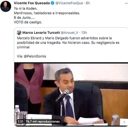 El ex mandatario mexicano pidió a los ciudadanos castigar con su voto en contra al partido Morena (Foto: Twitter@VicenteFoxQue)