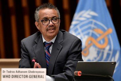 Foto de archivo del director general de la Organización Mundial de la Salud, Tedros Adhanom Ghebreyesus, en una rueda de prensa en Ginebra [3 de julio de 2020] (Fabrice Coffrini/ Pool vía Reuters)