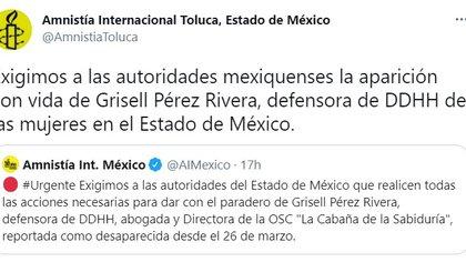 Grisell Pérez Rivera (Foto: Twitter/@AmnistiaToluca)