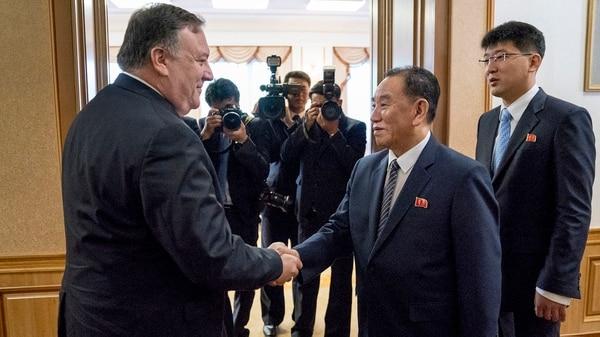 Mike Pompeo en Corea del Norte (AP Photo/Andrew Harnik, Pool)
