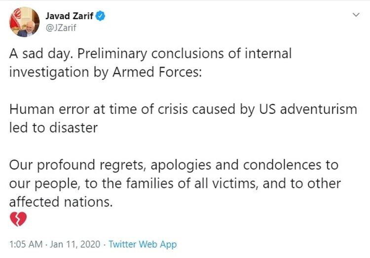 El tuit de Javad Zarif
