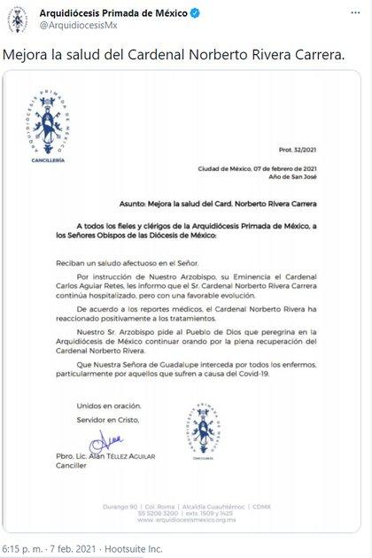 La Arquidiócesis Primada de México dio a conocer que el Cardenal emérito Norberto Rivera Carrera se recupera favorablemente (Foto: Twitter @ArquidiocesisMx)