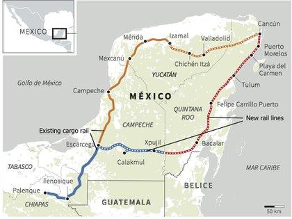 Ruta propuesta del Tren Maya.  Proyecto Tren Maya/Reuters