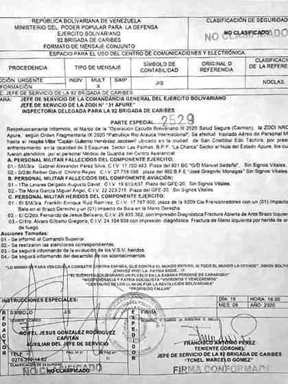 El radiograma que notifica los muertos y heridos militares