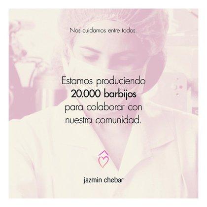 Jazmín Chebar fabricará 20.000 barbijos