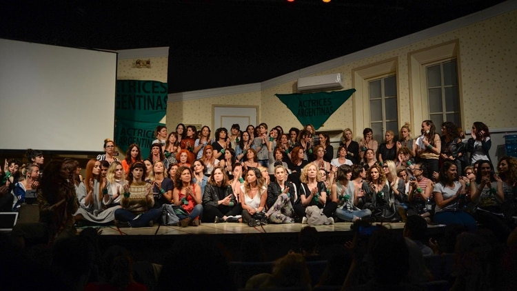 En diciembre de 2018, Actrices Argentinas se reunió en un teatro para acompañar a Thelma Fardin en la acusación a Juan Darthés por violación (Julieta Ferrario)