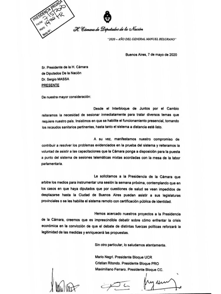 La carta de los legisladores opositores a Sergio Massa