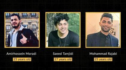 Amir Hossein Moradi,  Amir Hosein Moradi, Saeed Tamjidi y Mohamad Rajabi, los tres jóvenes condenados a muerte por protestar contra el régimen en 2019