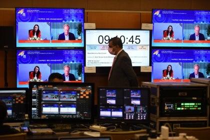 La primera ministra de Nueva Zelanda, Jacinda Ardern, habla en la cumbre virtual de APEC. MalaysiaInformation Department/Fandy Azlan/Handout via REUTERS