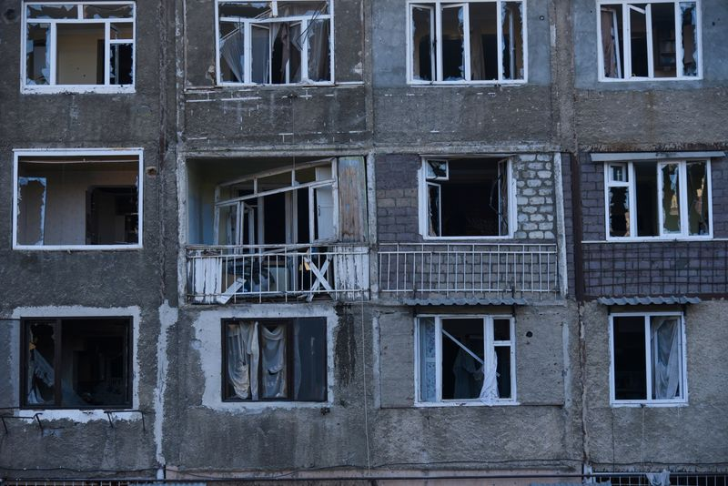 A view shows an apartment building that was allegedly damaged by recent shelling during a military conflict over the breakaway region of Nagorno-Karabakh in Stepanakert October 3, 2020. David Ghahramanyan/NKR InfoCenter/PAN Photo/Handout via REUTERS