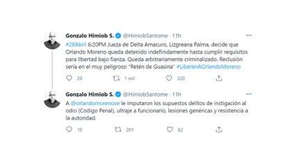Los mensajes de Gonzalo Himiob en Twitter