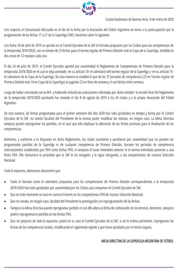 Respuesta de la Superliga a la AFA por el calendario de partidos