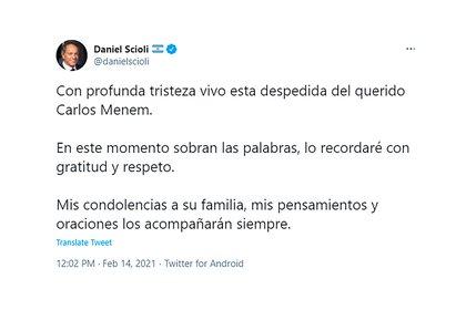 """""""El querido Carlos Menem"""", expresó Daniel Scioli"""