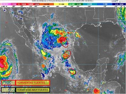 Tormentas en territorio mexicano antes de las 6:00 (Foto: CONAGUA)