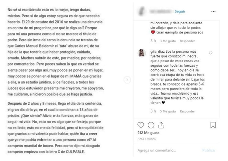 """La publicación de la joven en sus redes sociales según las capturas que compartió """"El Litoral"""""""