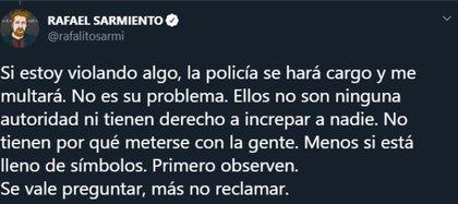Así fue la respuesta de Rafa luego de que otros ciudadanos le reclamaran por salir con Iñaki a la calle (Foto: Twitter @rafasarmiento)