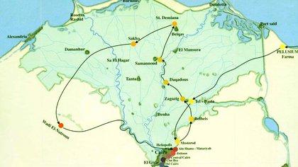 El mapa muestra el itinerario de la Sagrada Familia en Egipto