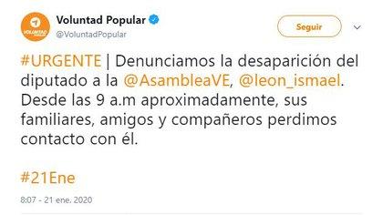 El tuit de Voluntad Popular