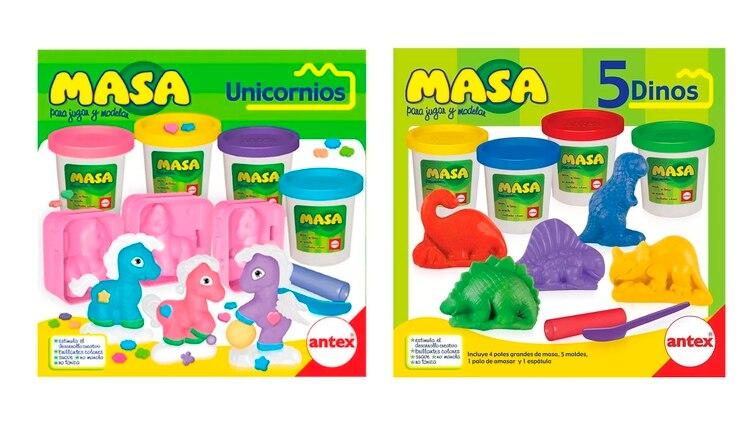 Kit de 4 masas moldeables de unicornios $590 para ellas y de dinosaurios $397 para ellos (48% más)