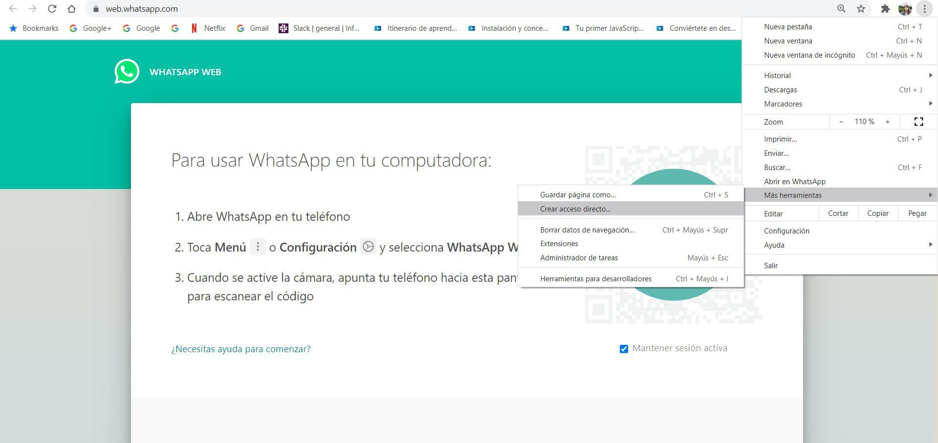 Crear acceso directo de WhatsApp web