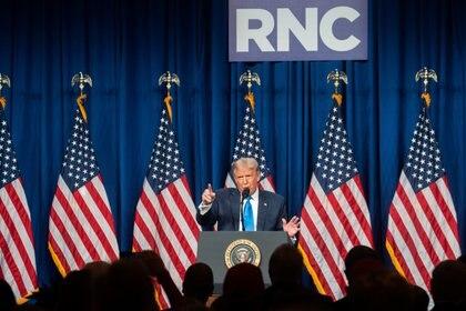 Donald Trump fue nominado oficialmente como candidato presidencial del partido republicano este lunes. Foto: Jessica Koscielniak/via REUTERS