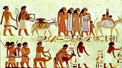Caravaneros del desierto en camino hacia Egipto (friso de la tumba de Knumhotep)