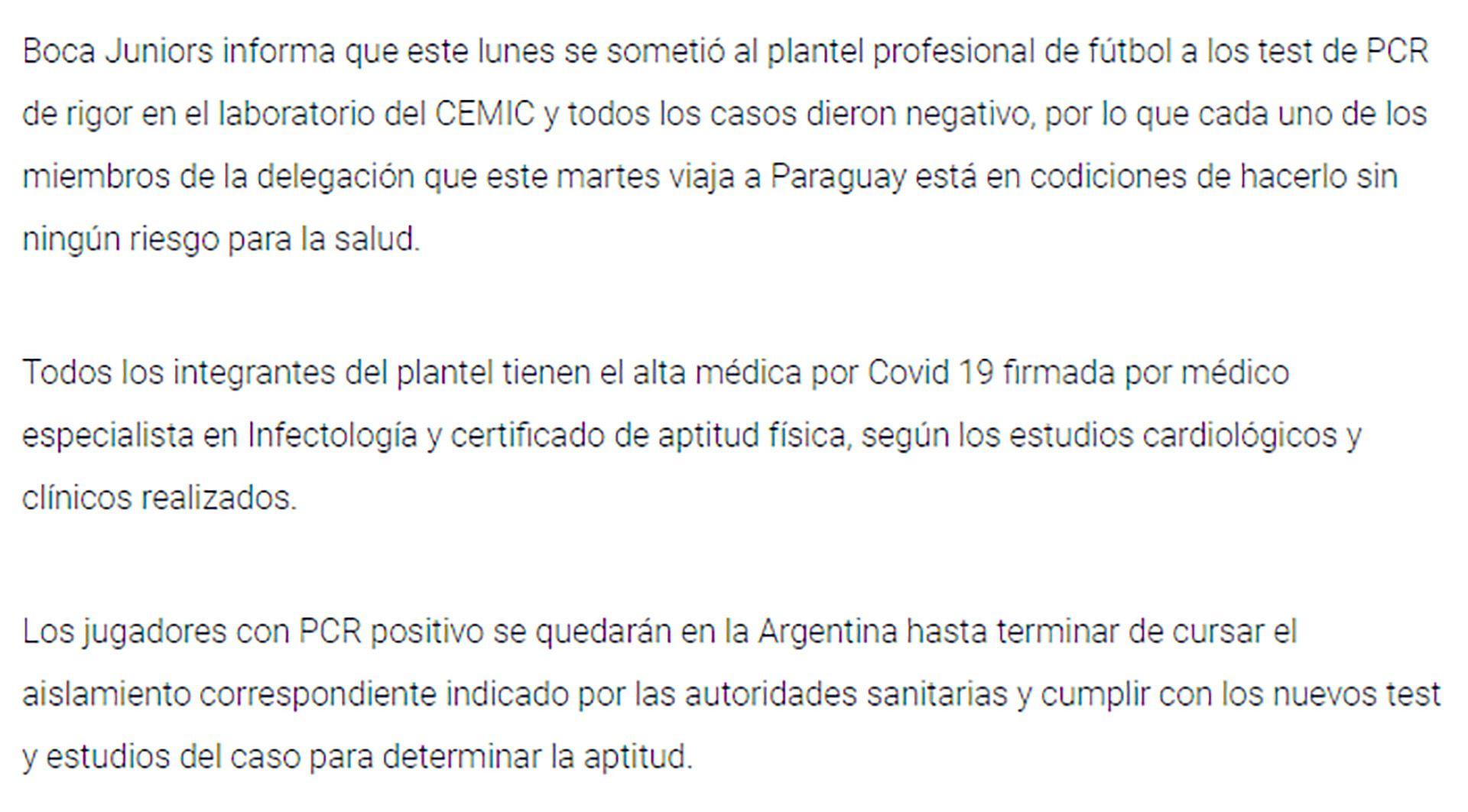 comunicado Boca Juniors por viaje a Paraguay