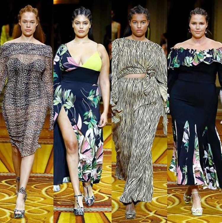 Sabina Karlsson, Jocelyn Corona, Hayley Foster and Candice Huffine, the top curvy and plus size models who participated in Siriano's show at the spring 2019 fashion show (Instagram: @csiriano)