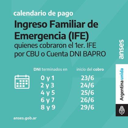 El calendario para el segundo pago del IFE difundido por la Anses.