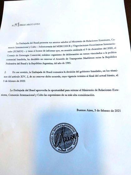 El comunicado de la Embajada del Brasil, además de sorpresivo, llamó la  atención por venir en un folio más dentro de un expediente referido a varios temas
