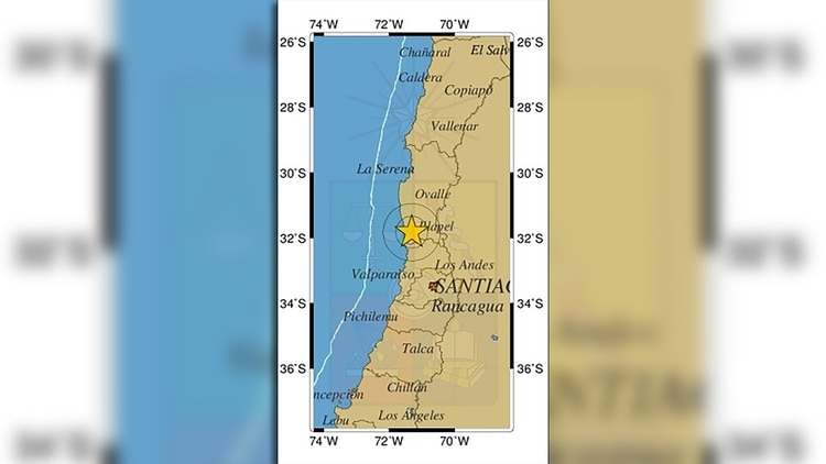 El CSN de Chile difundió una imagen del epicentro del sismo
