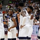 Basketball - FIBA World Cup - Quarter Finals - United States v France - Dongguan Basketball Center, Dongguan, China - September 11, 2019 Kemba Walker of the U.S. and teammates look dejected after the match REUTERS/Kim Kyung-Hoon
